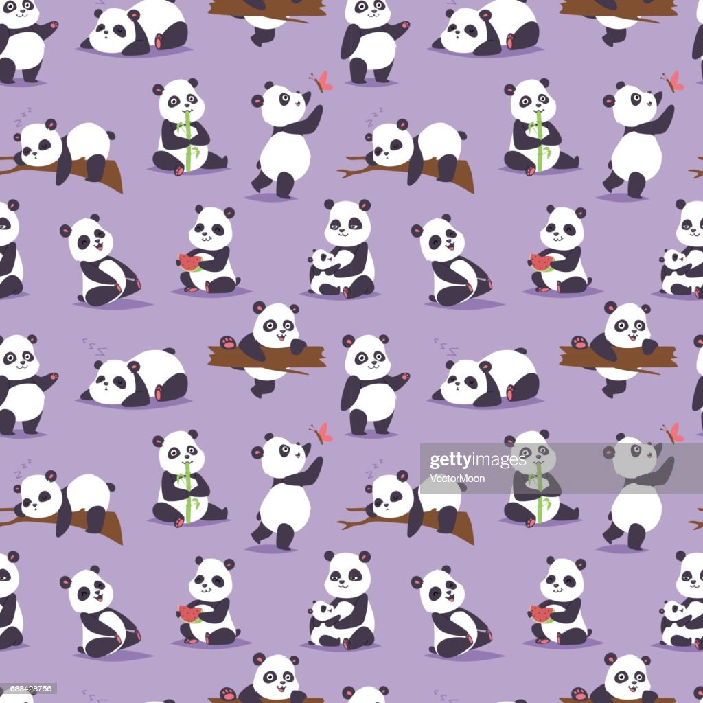 Panda bear cude character different pose vector seamless pattern