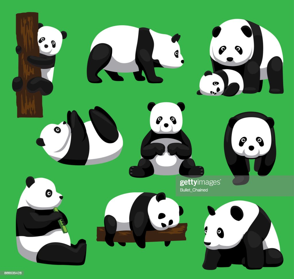 Panda Bear Nine Poses Cartoon Vector Illustration