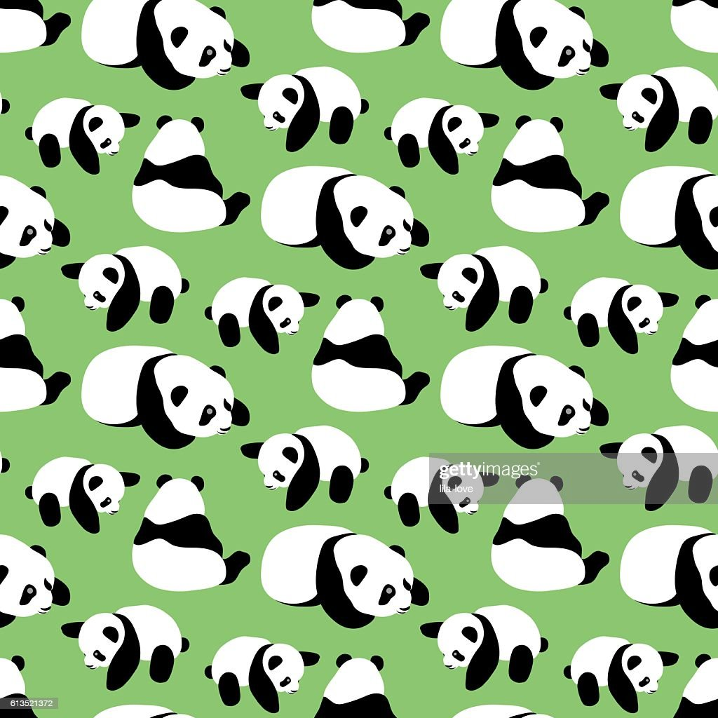 Panda bear vector background. Seamless pattern with cartoon panda