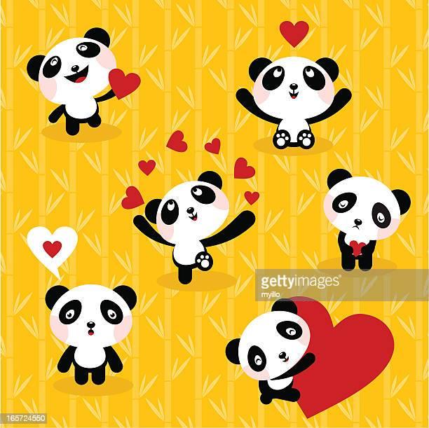 panda bears ,set, icon, love, cute - panda animal stock illustrations