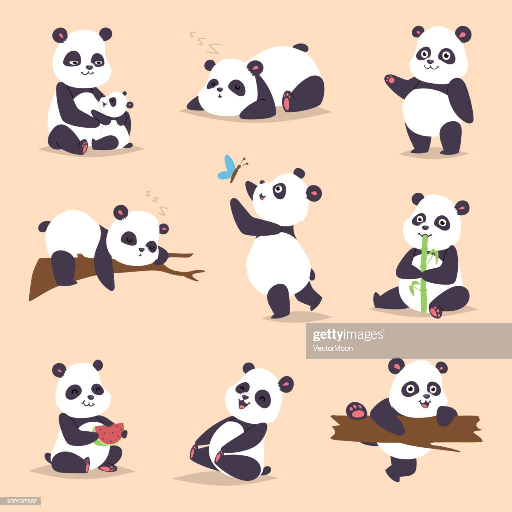 Panda cartoon character in various expression vector animal white cute china black panda bear giant mammal fat wilderness rare. Lying woods panda bear eating bamboo china wild animals