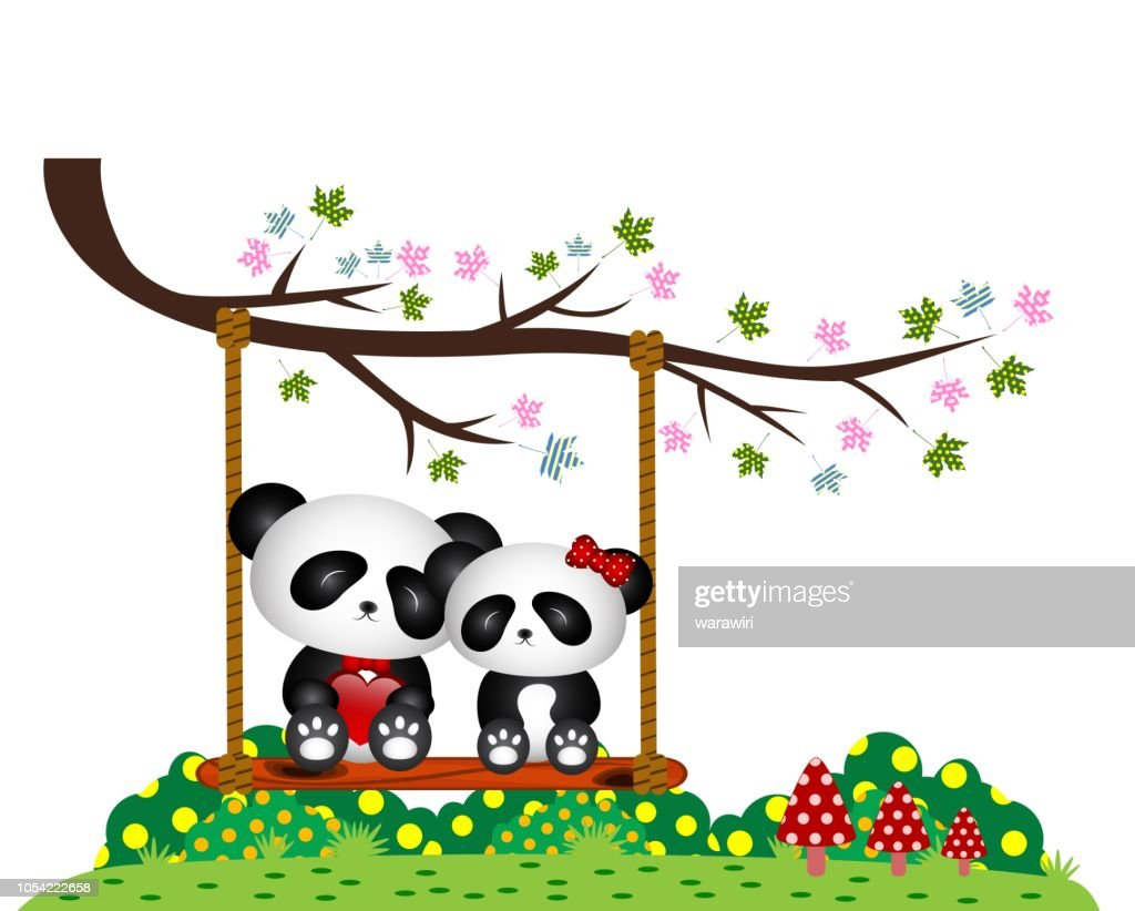 Panda Couple in love sitting on a swing under a tree at the park