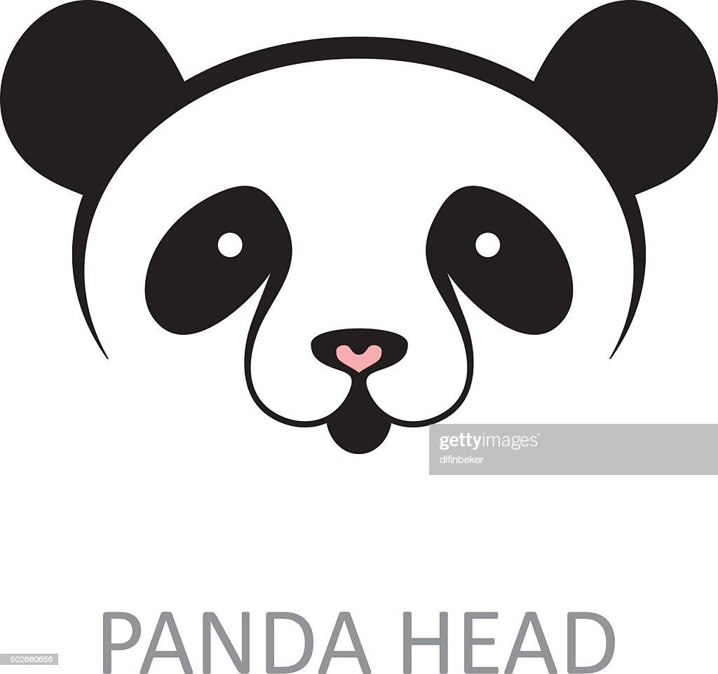 Panda cute face - simple vector sign.