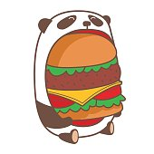 Panda eating huge burger.