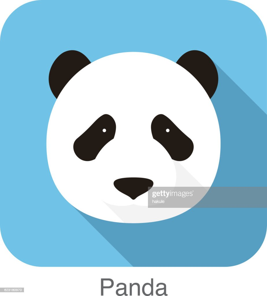 panda face flat icon design. Animal icons series.