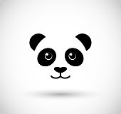 Panda face icon vector