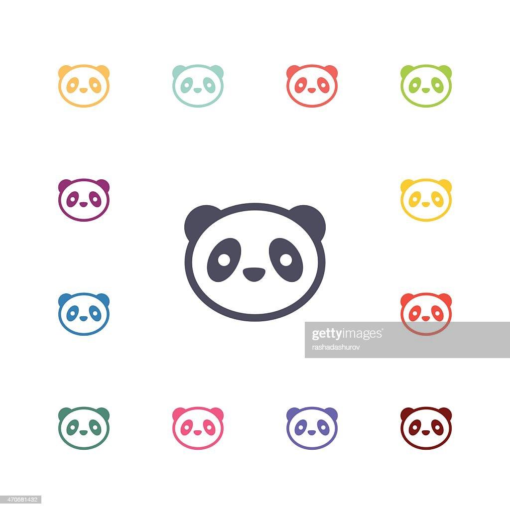 panda flat icons set