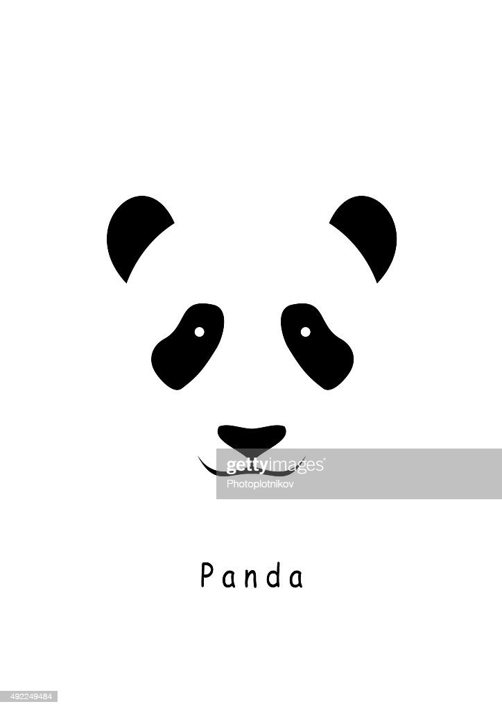 Panda Head icon vector on a white background.