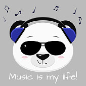 Panda head musician in blue headphones and black glasses, in the style of cartoons