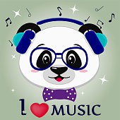 Panda is a musician, head in blue headphones, glasses and a bow tie in the style of cartoons
