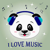 Panda is a musician, head in blue headphones, in the style of cartoons