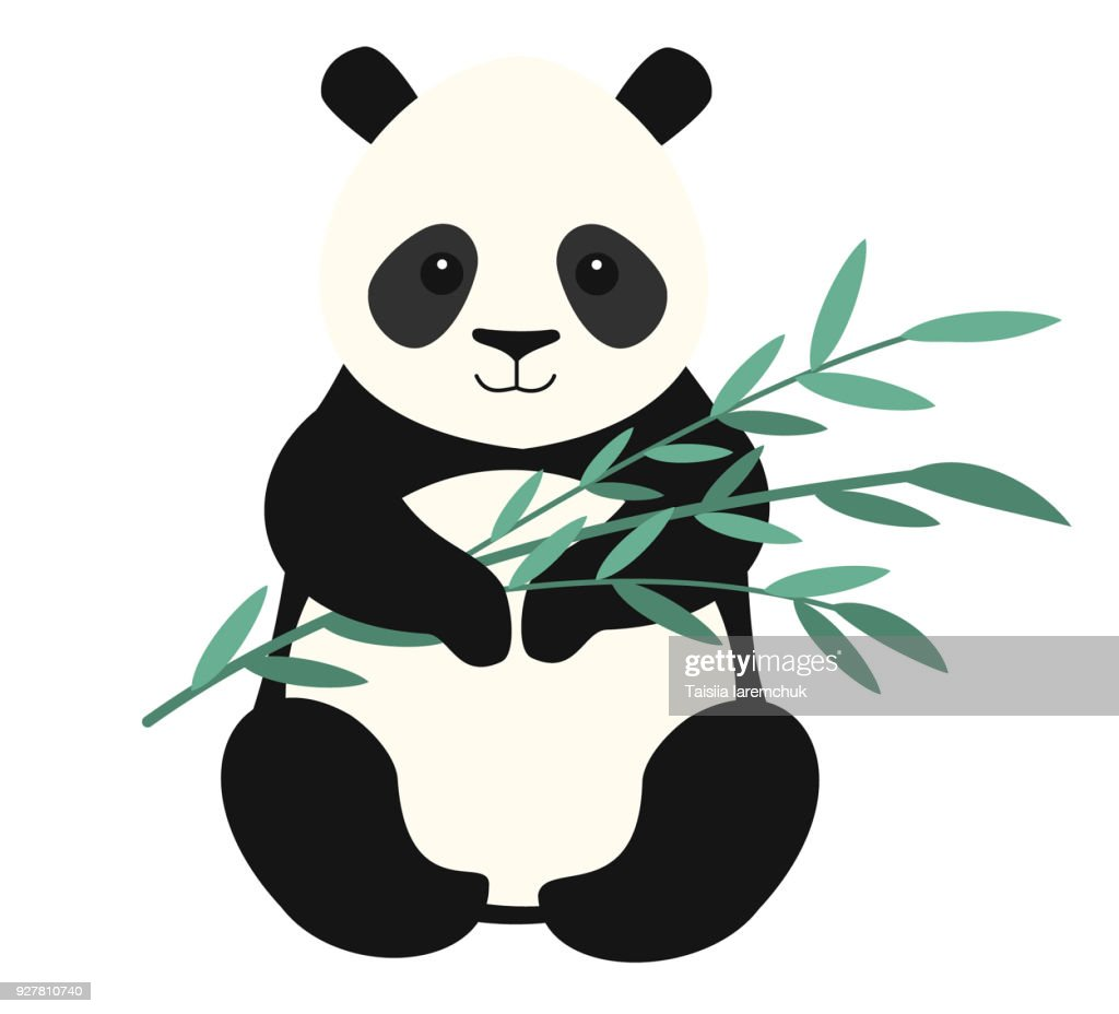 Panda isolated on white background. Vector illustration.