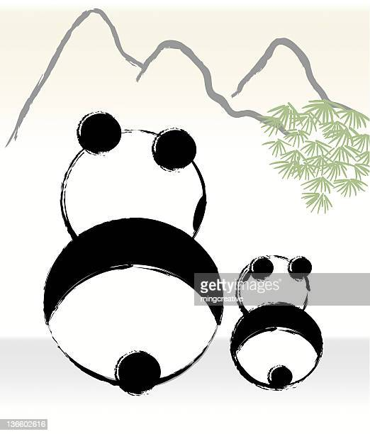 panda mom is parenting with her child - young animal stock illustrations, clip art, cartoons, & icons