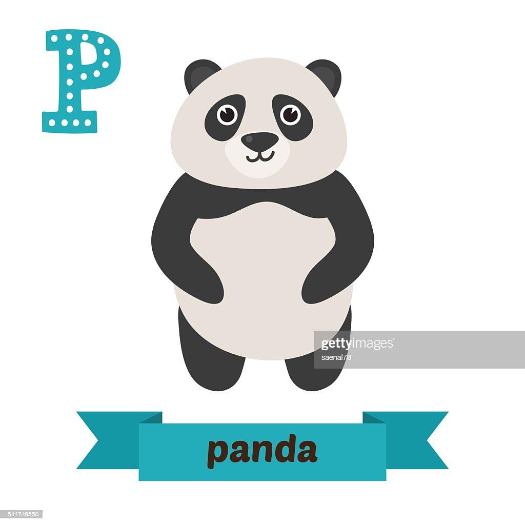 Panda. P letter. Cute children animal alphabet in vector. Funny