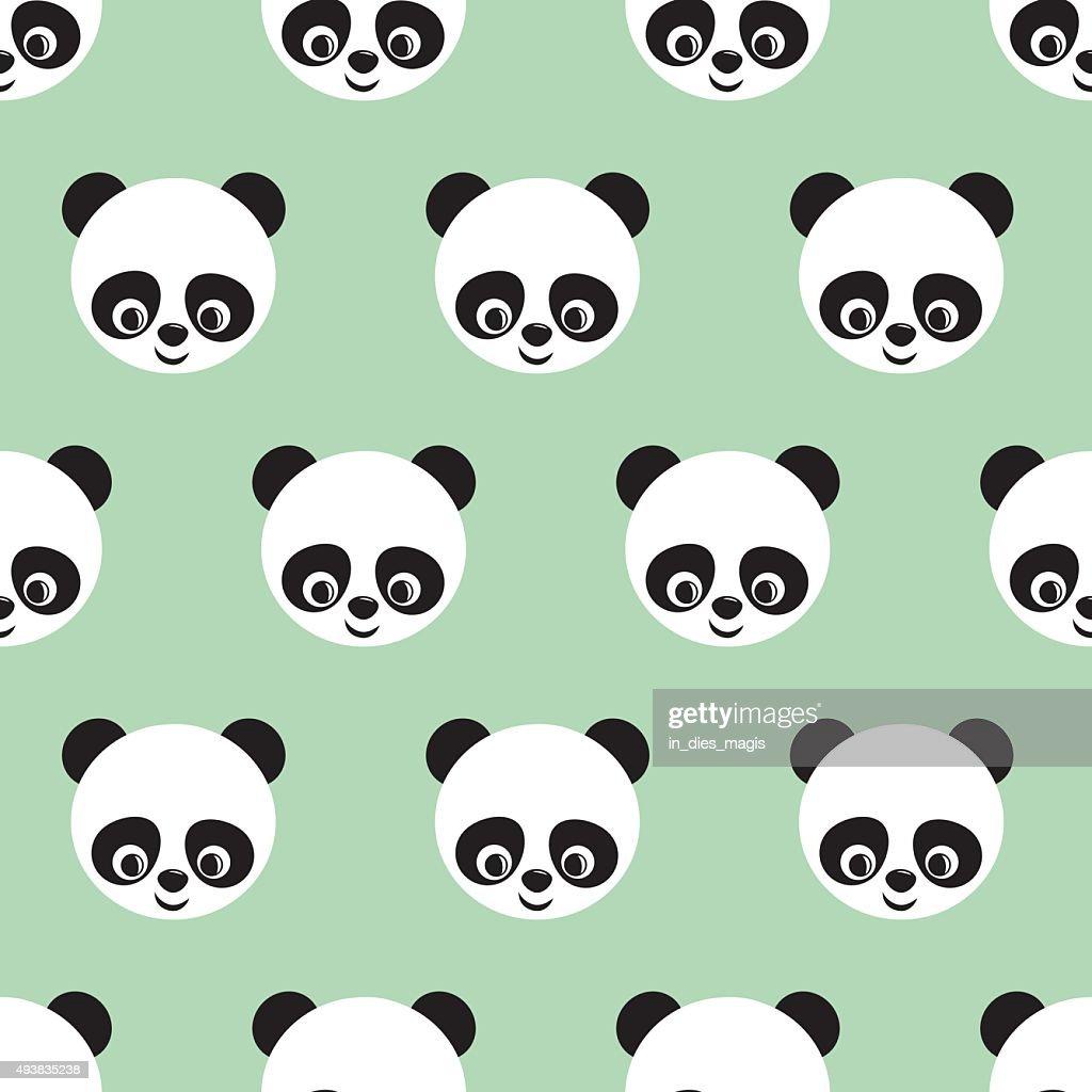 Panda seamless pattern on light green background