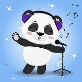Panda singer in blue headphones, with a raised paw singing into the microphone on a blue background, in the style of cartoons