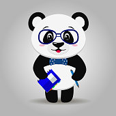 Panda with glasses, with a notepad and pen in the style of the cartoon stands.