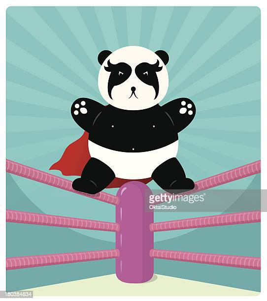 panda wrestler - fighting ring stock illustrations