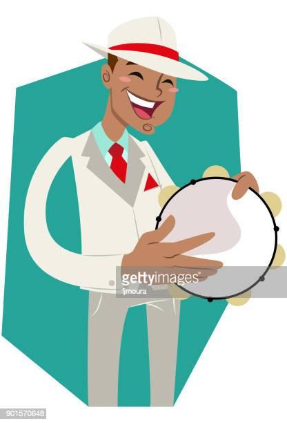 pandeiro de escola de samba - tambourine stock illustrations