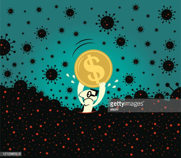 pandemic and financial crisis concpet. scared businessman holds a dollar sign currency, fear of new coronavirus panic (covid-19, virus) is sinking in - recession stock illustrations