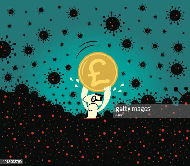 illustrations, cliparts, dessins animés et icônes de la pandémie et la crise financière concpet. homme d'affaires effrayé détient un signe de livre monnaie britannique, la crainte de la panique nouveau coronavirus (covid-19, virus) s'enfonce dans - brexit