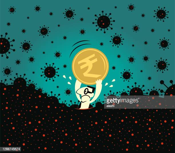 pandemic and financial crisis concpet; scared businessman holds an indian rupee currency; fear of new coronavirus panic (covid-19, virus) is sinking in - economy stock illustrations
