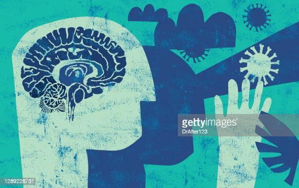 stockillustraties, clipart, cartoons en iconen met pandemische angst - vermijden