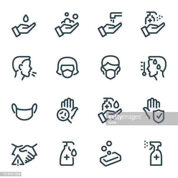 stockillustraties, clipart, cartoons en iconen met pandemische preventie - pixel perfect unicolor lijn pictogrammen - prevention