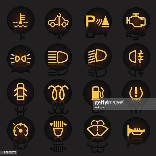 panel of car warning indicators lit up - physical pressure stock illustrations