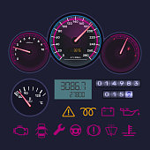 Panel, tachometer, speedometer, level gasoline, distance in kilometers, information icons.