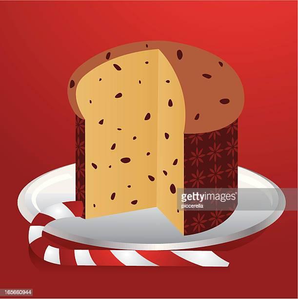 illustrazioni stock, clip art, cartoni animati e icone di tendenza di panettone e bastoncino di zucchero - panettone
