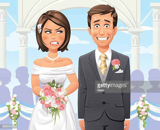 panicking groom at outdoor wedding ceremony - married stock illustrations