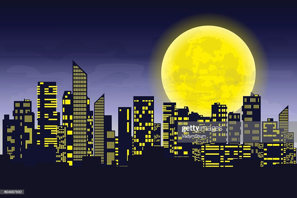 Panorama of the big city at night. Silhouettes of skyscrapers
