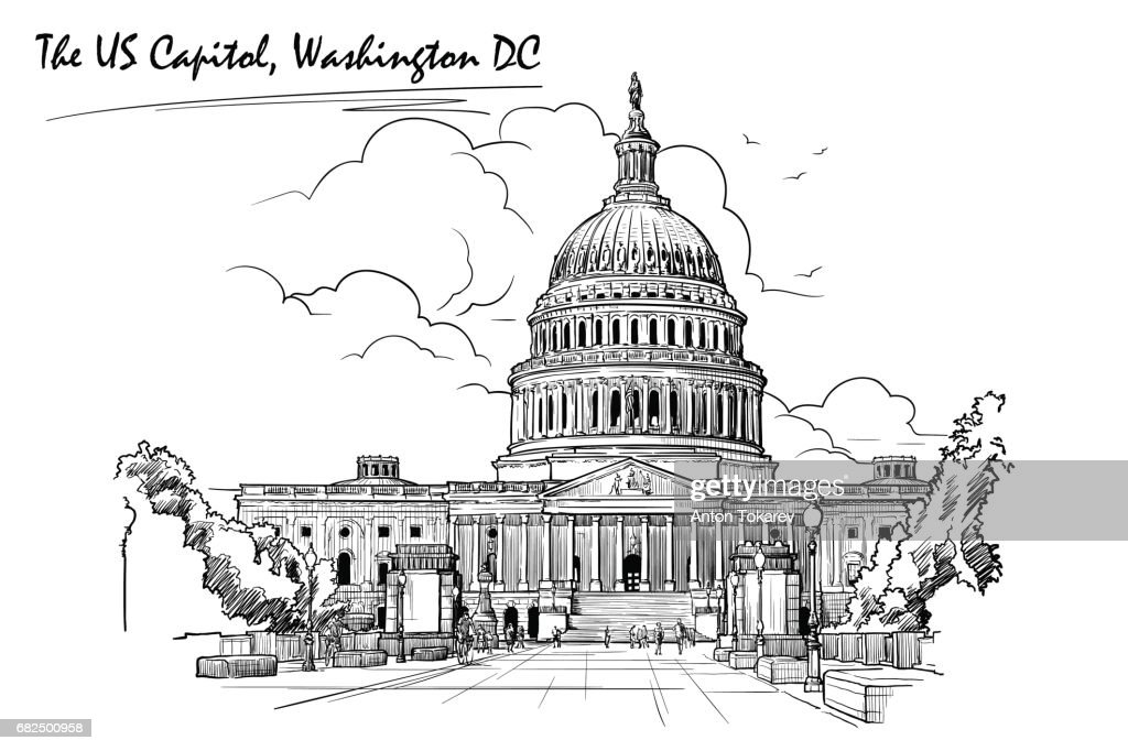 Panorama of the US Capitol. Sketch isolated on white background. EPS10 vector illustration.