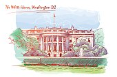Panorama of the White House. Blackboard. EPS10 vector illustration.