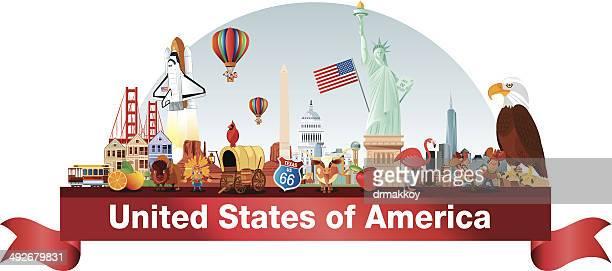 usa-panorama - amerikanische kontinente und regionen stock-grafiken, -clipart, -cartoons und -symbole