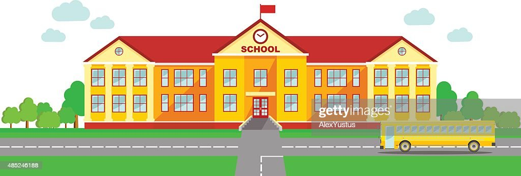 Panoramic background with school building and school bus in flat style