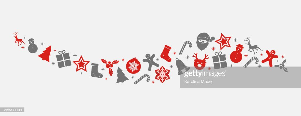 Panoramic banner with Christmas decorations. Vector.