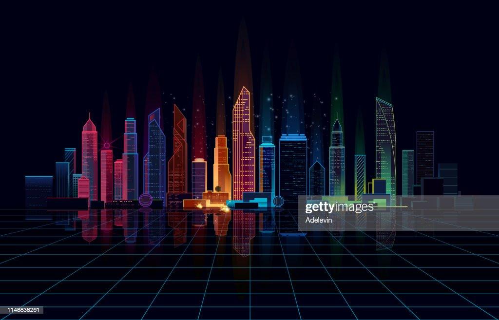 Panoramic bright night city : stock illustration