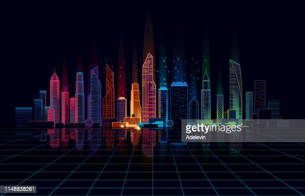 panoramic bright night city - cityscape stock illustrations