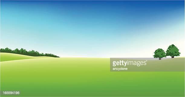 illustrations, cliparts, dessins animés et icônes de vue panoramique sur le terrain de golf - ensoleillé
