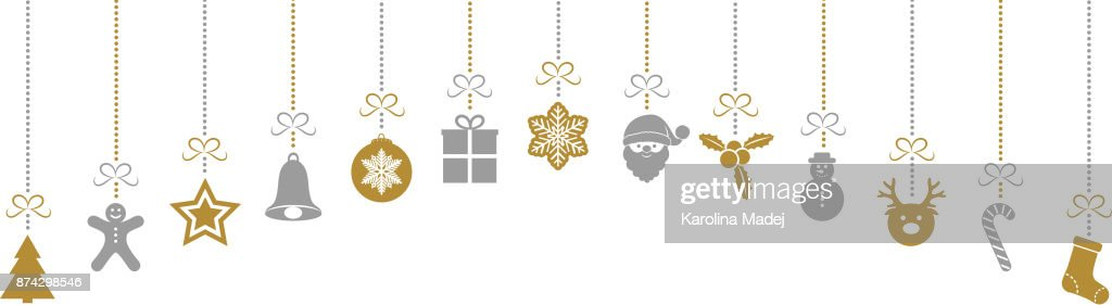 Panoramic header with Christmas decorations. Vector.