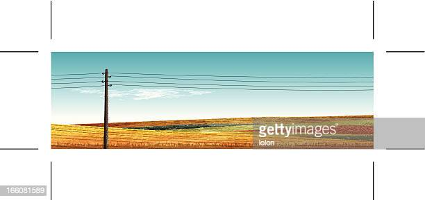 panoramic landscape with hills and vintage power pole