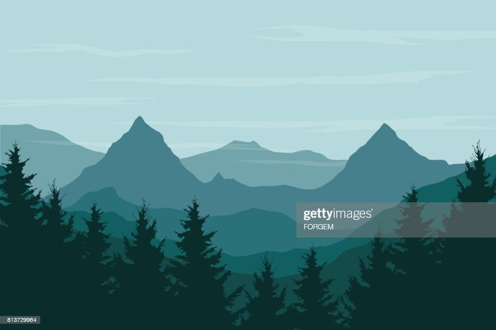 Panoramic vector illustration of a mountain landscape with a forest under the sky with clouds and space for text