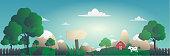 panoramic vector illustration of lovely farm village