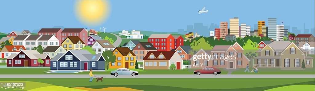 Panoramic view of a city : Stock Illustration
