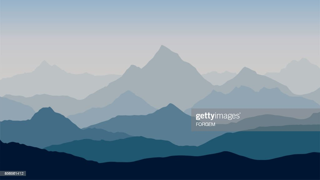 panoramic view of the mountain landscape with fog in the valley below with the alpenglow blue-grey sky and rising sun - vector