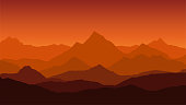 panoramic view of the mountain landscape with fog in the valley below with the alpenglow orange sky and rising sun - vector
