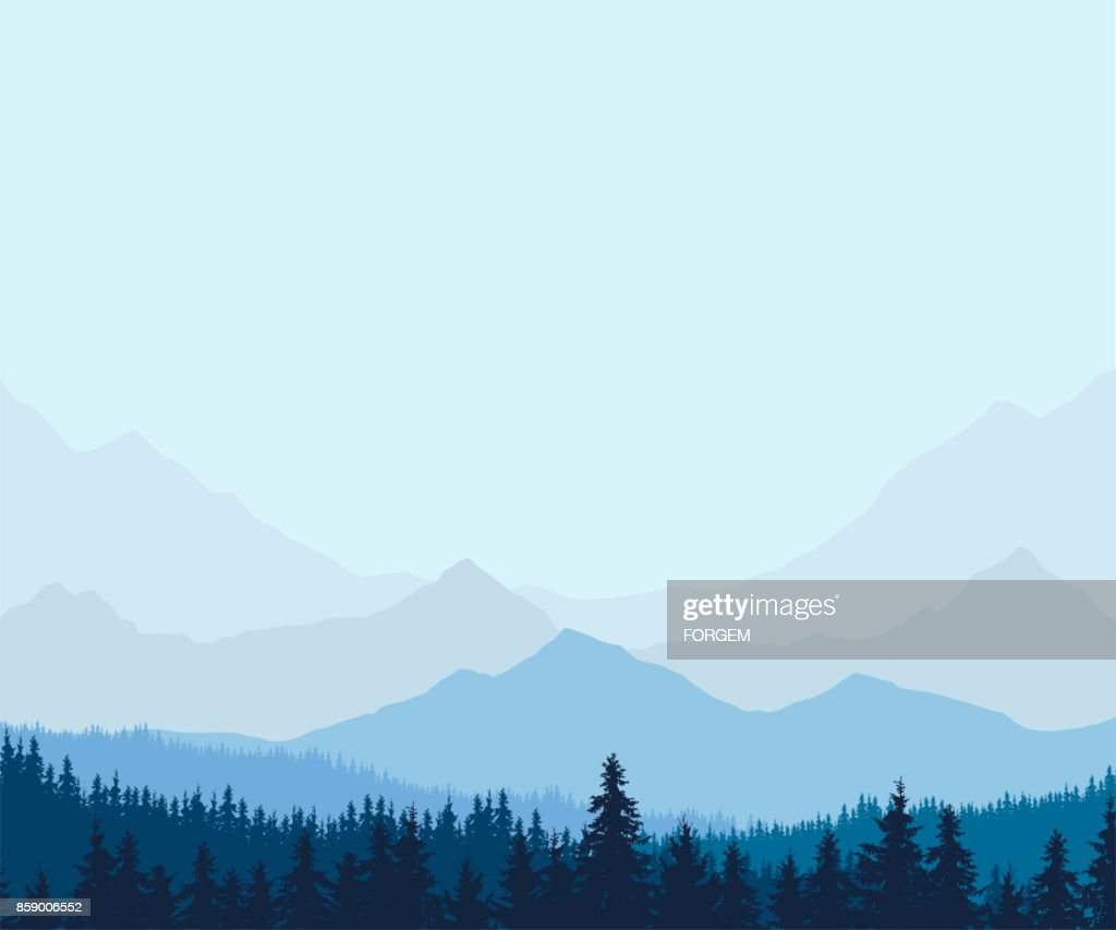 Panoramic view of winter mountain landscape with forest and with space for text, vector illustration