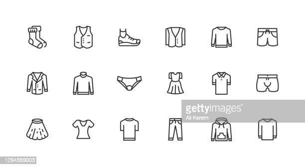 ilustraciones, imágenes clip art, dibujos animados e iconos de stock de pantalón, vestido, camisa, camiseta, zapatos icon diseño - colección de la moda